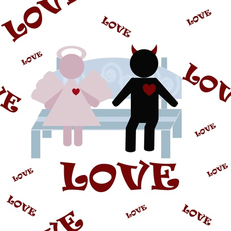 Angel and a demon on a bench a white background Vector