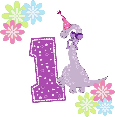 one item: Number one with a dinosaur and flowers on a white background Illustration
