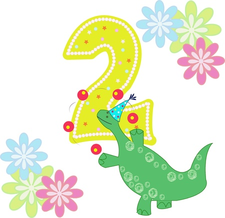 2 objects: Number two with a dinosaur and flowers on a white background