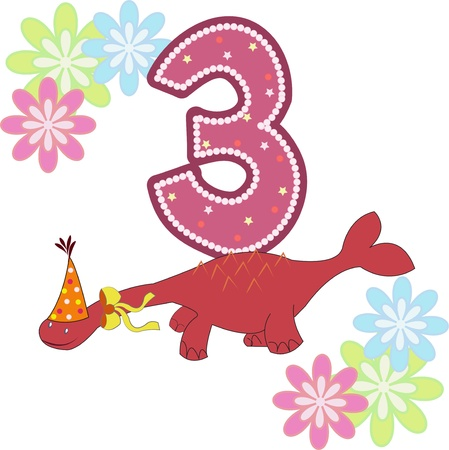four objects: Number three with a dinosaur and flowers on a white background