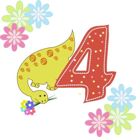five objects: Il numero quattro con un dinosauro e fiori su sfondo bianco Vettoriali