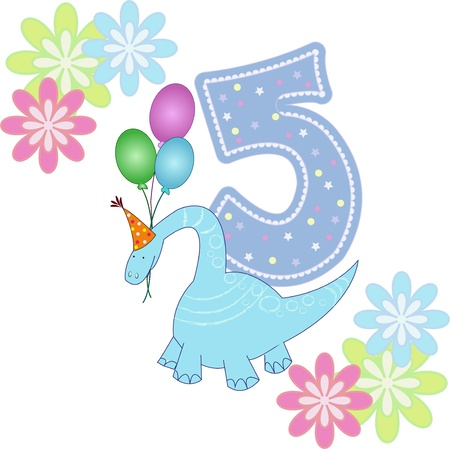 Number five with a dinosaur and flowers on a white background Vector