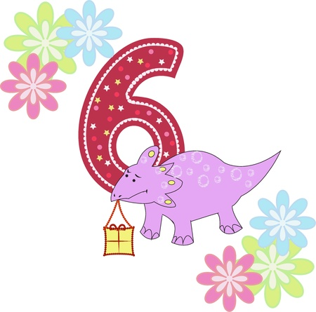 Number six with a dinosaur and flowers on a white background Vector