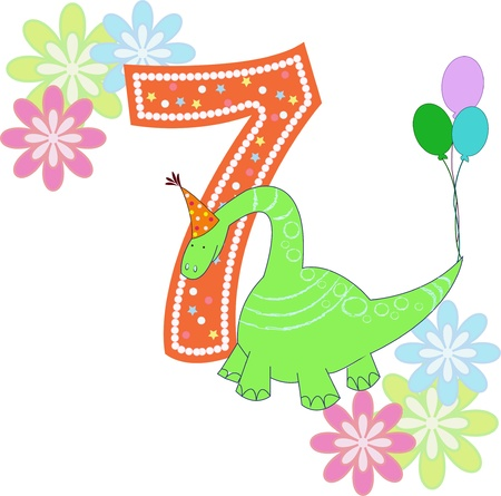 Number seven with a dinosaur and flowers on a white background Vector
