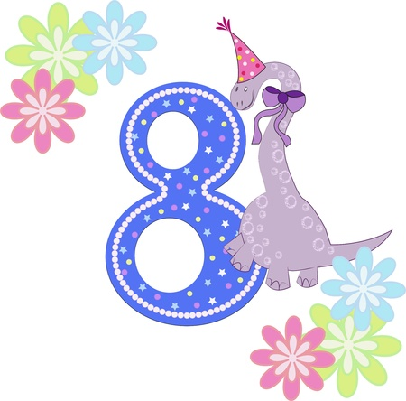 Number eight with a dinosaur and flowers on a white background Vector
