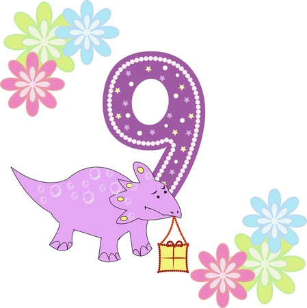 Number nine with a dinosaur and flowers on a white background Vector
