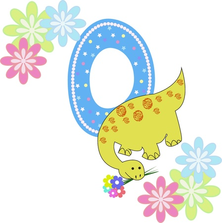 Number zero with a dinosaur and flowers on a white background Vector