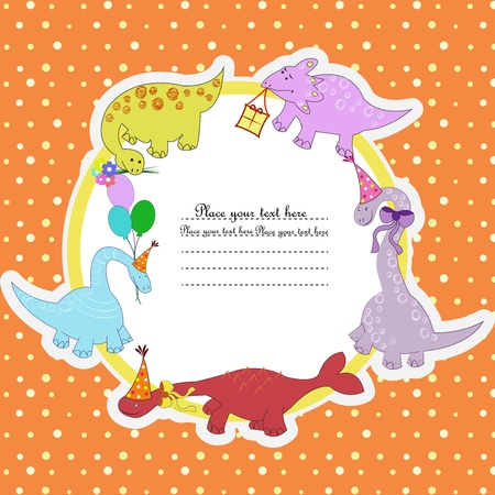 birth day: Multi-colored dinosaurs with balloons colors and gifts on a circle on an orange background in white peas