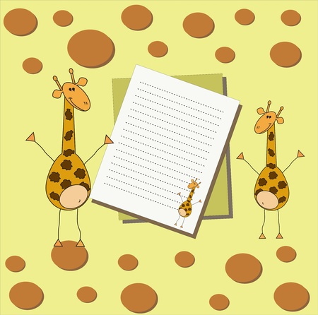 Bright card with giraffes and sheets of paper on an orange background with circles Vector