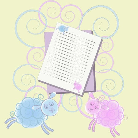 Bright card with lambs and sheets of paper on a yellow background with curls Vector