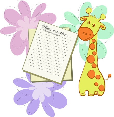 Bright card with giraffes and sheets of paper on an white background with flowers Vector