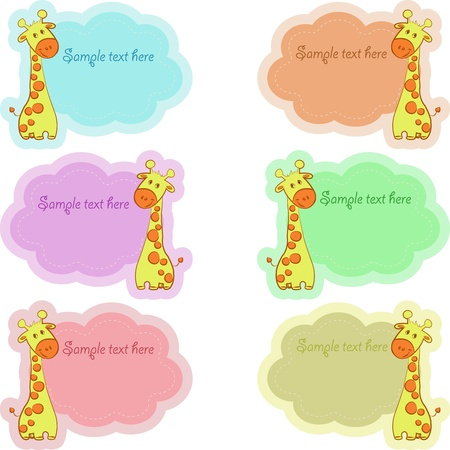 To school labels with nice giraffes, a vector illustration Vector