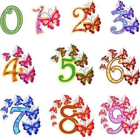 digital Numbers: Beautiful multi-coloured numbers with butterflies