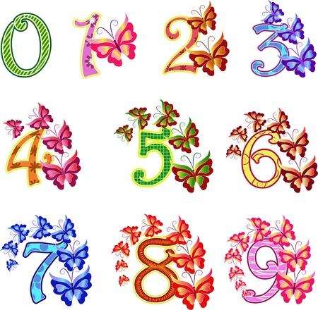nombres: Belles multicolores num�ros avec des papillons Illustration