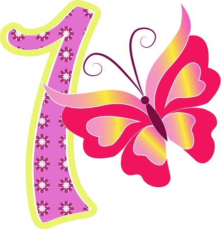 one item: Beautiful multi-colored number one with the butterfly on a white background