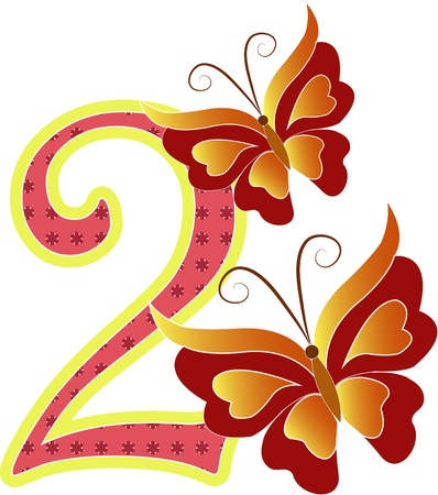 two objects: Beautiful multi-colored number two with the butterflys on a white background