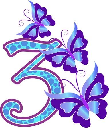 nombres: Belle multicolore num�ro trois avec les papillons sur un fond blanc Illustration