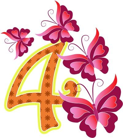 cijfer vier: Mooie veelkleurige nummer vier met de vlinders op een witte achtergrond