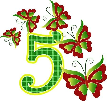 five objects: Bella multi-colored numero cinque con le farfalle su uno sfondo bianco