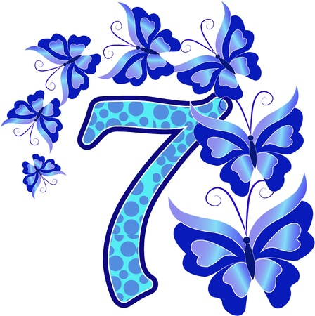 Beautiful multi-colored number seven with the butterflys on a white background Vector