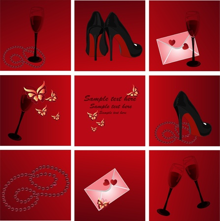 Icons with an envelope butterflies heart glasses shoes a beads on a red background Vector