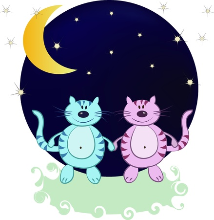Blue and pink cats in the night from the moon and stars Stock Vector - 13270353