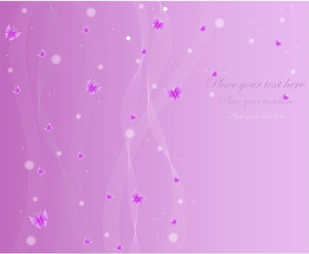 Beautiful violet abstract background with butterflies lines and circles Vector