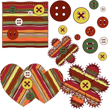 cotton fabric: The sample of a fabric in a strip with buttons Illustration