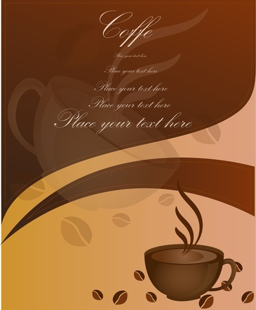 Cup of coffee with coffee grains Vector