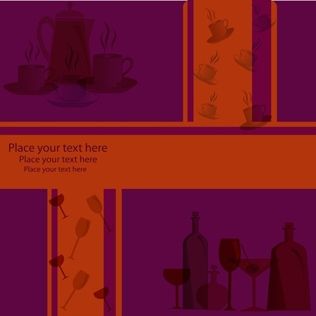 Kitchen ware on a violet background with orange strips Vector