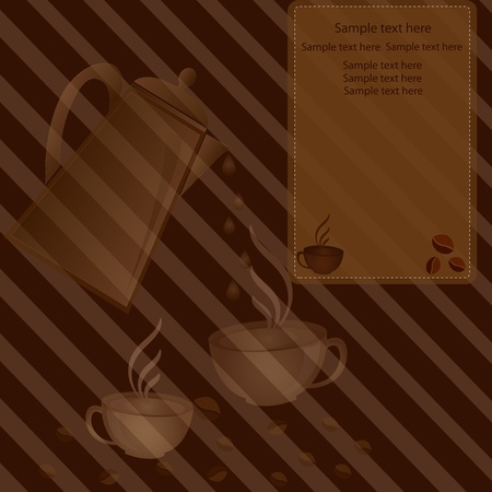 Cup of coffee c a coffee pot and with coffee grains on a striped brown background Vector