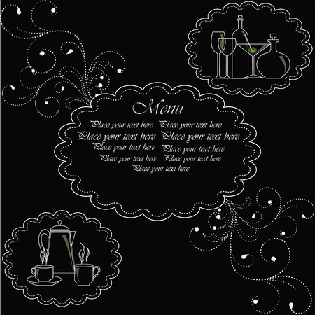 Template for the menu. A white outline of ware on a black background with curls Vector