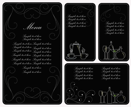 Four templates for the menu. A white outline of ware on a black background with curls Vector