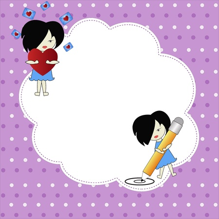 The girl with a heart and the girl with a pencil with a white framework on a violet background Vector