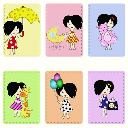 Icons with amusing children. Girls in different situations Vector