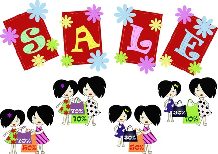 Ridiculous girls shopping with discounts Stock Vector - 13270297