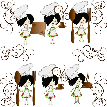 Six little girls the chief of cooks on a white background Vector