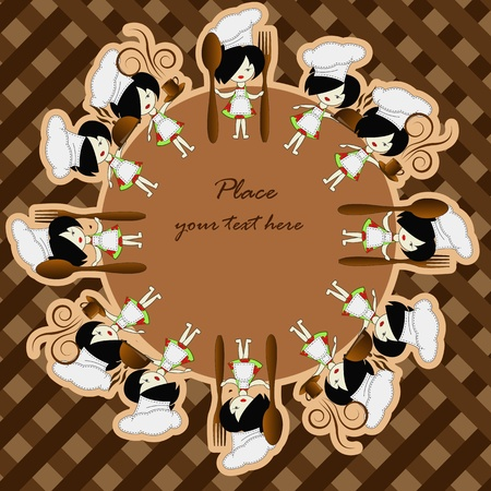 Little girls the chief of cooks on a brown background Vector