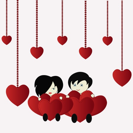 Amusing the girl with the boy and hearts on a white background Vector
