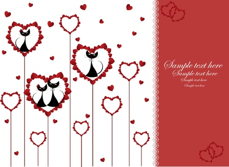 Enamoured black cats in heart on a white background Vector