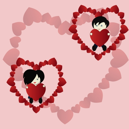 Amusing the girl with the boy and hearts on a pink background Vector