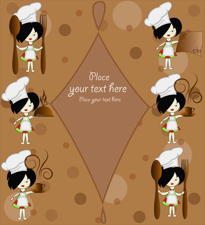 Six little girls the chief of cooks on a brown background Vector