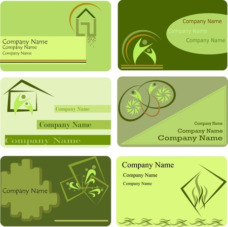 Six green icons with symbols Vector