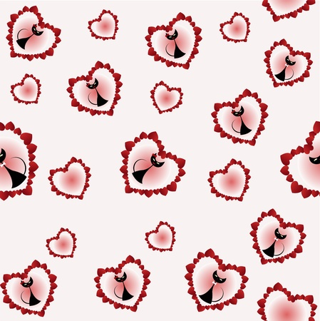Seamless white background from cats and hearts Vector