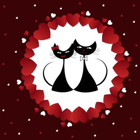 Enamoured black cats in white circles from hearts on a brown background Vector