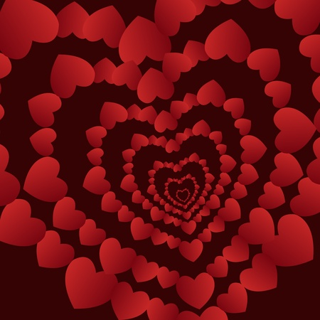 Abstract red hearts on a brown background Vector
