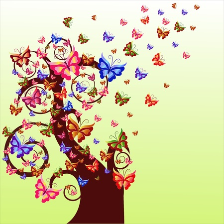 Brown tree with multi-colored butterflies on a yellow background Vector