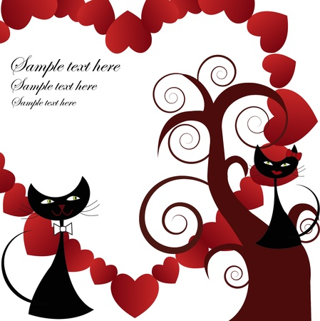 Two enamoured black cats on a tree with heart on a white background Vector