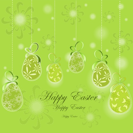 Easter card template with green eggs on a green background Stock Vector - 13302814