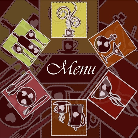 Multi-colored cards with kitchen ware on a red background Vector